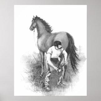 Vintage Farrier Horse Shoeing Black White Art Poster