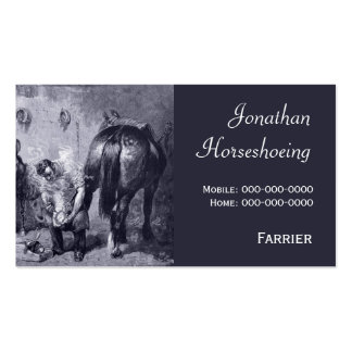 Vintage farrier shoeing a horse business card