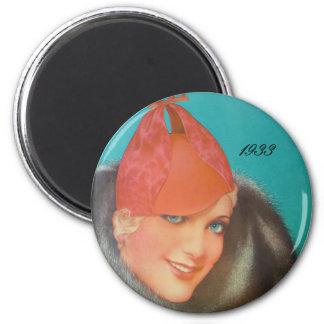 Vintage Fashion 1933 2 Inch Round Magnet