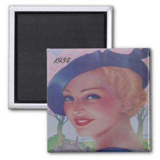 Vintage Fashion 1934 2 Inch Square Magnet