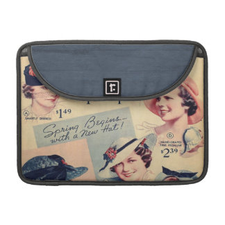 Vintage Fashion 1936 Hat Advertisement Sleeves For MacBook Pro