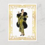 Vintage Fashion 20s Flapper Fur Cape Evening Gown Postcard