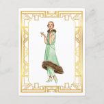 Vintage Fashion 20s Flapper Pant Dress Art Postcard