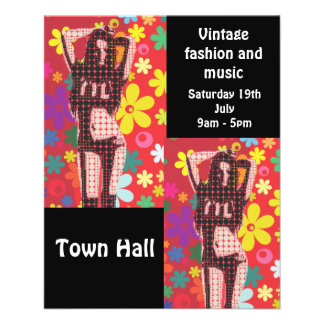 Vintage fashion 60s music retro sale flyers
