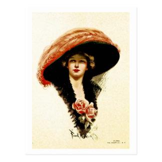 Vintage fashion beautiful lady postcards