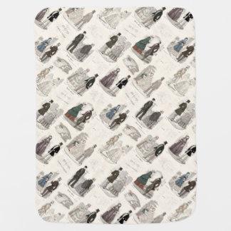 Vintage Fashion Biedermeier Elegant Antique Print Swaddle Blanket