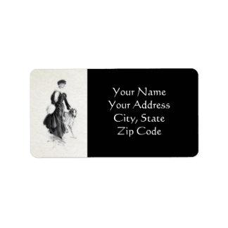 Vintage Fashion Borzoi Art Address Label