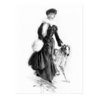 Vintage Fashion Borzoi Art Postcard
