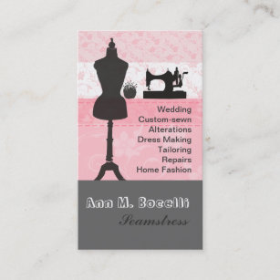 Seamstress business cards templates zazzle vintage fashion crafts girly pink floral sewing business card reheart Images