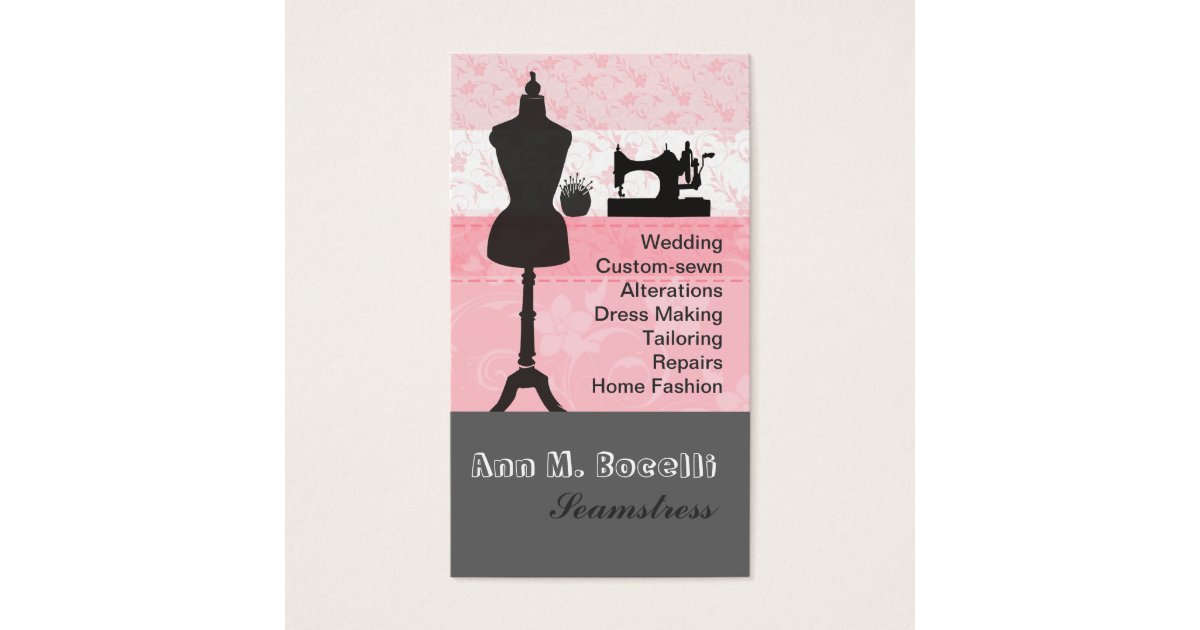 Vintage Fashion Crafts Girly Pink Floral Sewing Business Card ...
