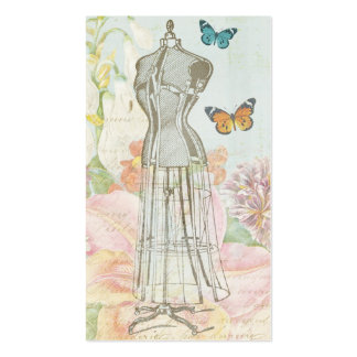 Vintage Fashion Designer Dress Form Antique Floral Business Cards