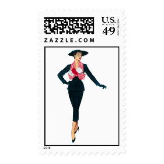 Vintage Fashion Diva Postage Stamps