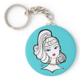 Vintage Fashion Doll Illustration Basic Round Button Keychain