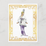 Vintage Fashion Early 1900s Evening Gown Feather Postcard
