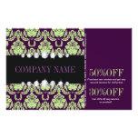vintage fashion elegant green purple damask flyer