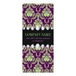 vintage fashion elegant green purple damask rack card