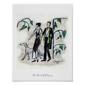 Vintage fashion figures,Tres Chic Poster art