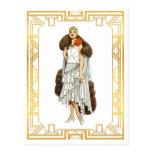 Vintage Fashion Flapper Fur Cape Evening Gown Postcard