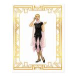 Vintage Fashion Flapper Pink and Black Dress Postcard