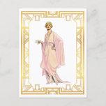 Vintage Fashion Flapper Pink Tea Time Dress Postcard