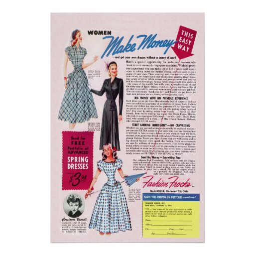 Vintage Fashion Frocks Ad from 1949 Poster