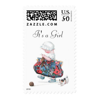 Vintage Fashion Girl Baby Shower Postage