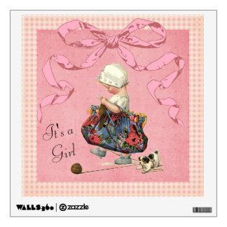Vintage Fashion Girl Pink Ribbon Baby Shower Wall Sticker