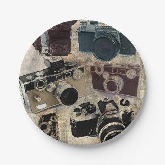 Vintage  fashion Grunge Retro Camera Paper Plate