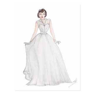 Vintage Fashion Illustration - 1950's ball gown Postcard