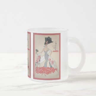Vintage Fashion Illustration ~ Frosted Glass Coffee Mug