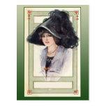 Vintage Fashion Illustration with Black Hat Postcards