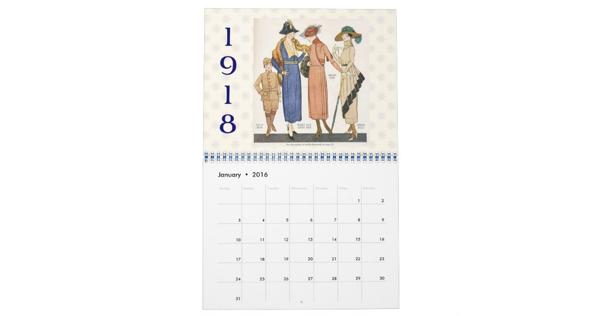 Fashion Illustration Calendar : Vintage fashion illustrations calendar zazzle