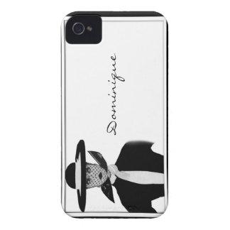 Vintage Fashion Lady Black and White iPhone 4 Case