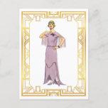 Vintage Fashion Lavender Flapper Gown 1920s Postcard