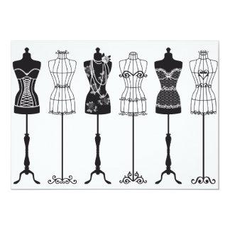 Vintage fashion mannequins 5x7 paper invitation card
