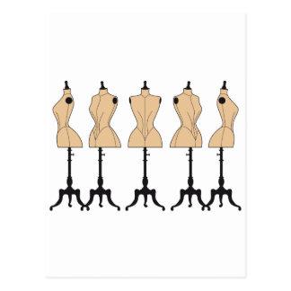 vintage fashion mannequins, old dress forms postcard
