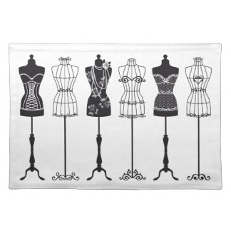 Vintage fashion mannequins silhouettes cloth placemat