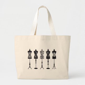 Vintage fashion mannequins silhouettes large tote bag