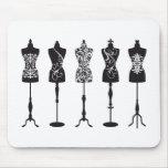 Vintage fashion mannequins silhouettes mouse pad