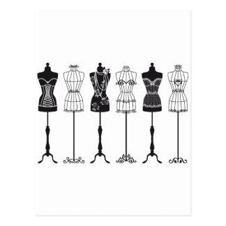 Vintage fashion mannequins silhouettes postcard