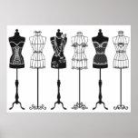 Vintage fashion mannequins silhouettes poster