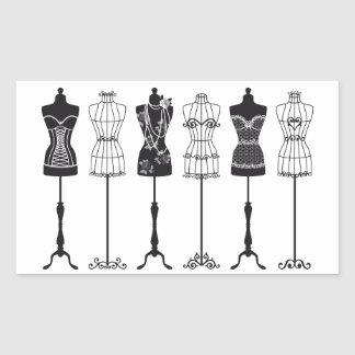 Vintage fashion mannequins silhouettes rectangular sticker