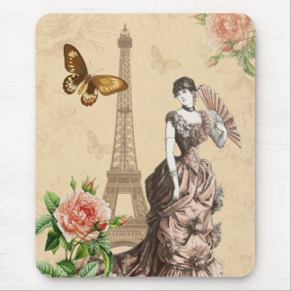 Vintage fashion mousepad with flower and butterfly