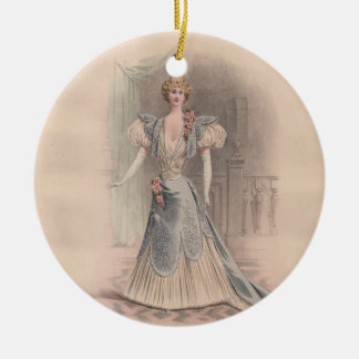 Vintage Fashion Plate of Woman in Blue Dress Ceramic Ornament