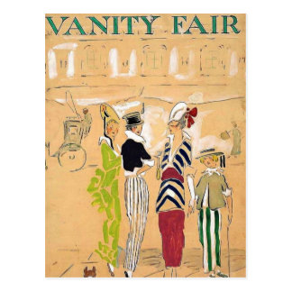 Vintage fashion prints postcard