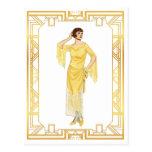 Vintage Fashion Roaring 20s Flapper Evening Gown Postcard