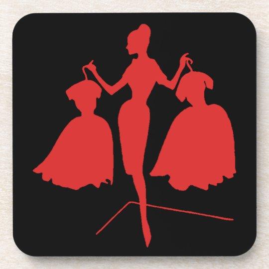 Vintage Fashion Silhouette Drink Coaster