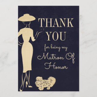 Vintage Fashion Thank You Matron Of Honor Card