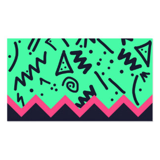 Vintage Fashion Trend Neon Colorful Shapes Pattern Business Card