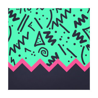 Vintage Fashion Trend Neon Colorful Shapes Pattern Stretched Canvas Prints